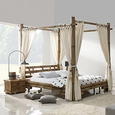 Bambus Himmelbett 140x200 JIMBARAN Bett mit Himmel 140 x 200 Himmelbetten natur Holz Bambusbett Bambusbetten 140x 200