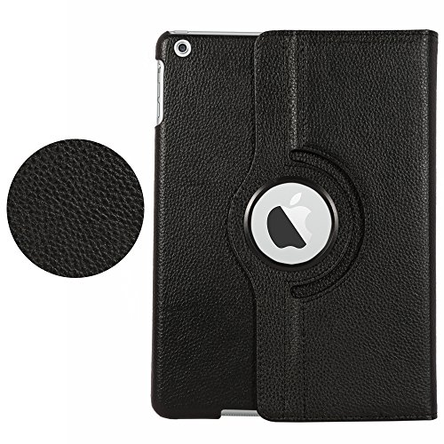 iPad Air cover, Stand Flip Cover 360 Degree Series PU Leather Premium 360 Degree Rotating Stand Flip Cover With auto wake sleep (Black) 51dslpSBkvL