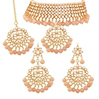 I Jewels Traditional Kundan & Peach Pearl Choker Necklace Set For Women (K7058Pe)