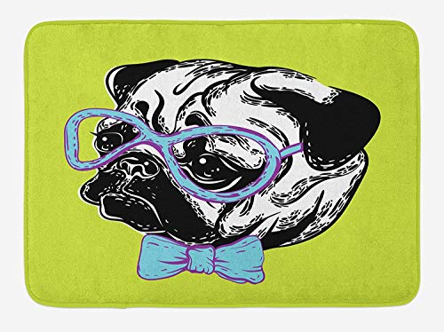 , Cute Dog with a Bow Tie and Nerdy Glasses on Green Shade Backdrop, Plush Bathroom Decor Mat with Non Slip Backing, 23.6 W X 15.7 W Inches, Apple Green Pale Blue Lavender ()