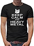 TLM Keep Calm and Heavy Metal Camiseta para hombre T-Shirt M negro