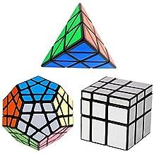 YKL World Negro Cubo Mágico Dodecaedro Megaminx + 3x3x3 + 3x3 Pyraminx Espejo De Plata Cube del Rompecabezas