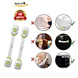 Safe-O-Kid 8 Child Safety Lock Straps/Latches for Baby Proofing - Push Key, Multipurpose