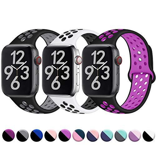 Hamile Kompatibel für Apple Watch Armband 38mm 40mm,Dual Farbe Weiches Silikon Atmungsaktiv Sportarmband für Apple Watch Series 4/3/2/1, M/L Schwarz/Grau Weiß/Schwarz Schwarz/Lila