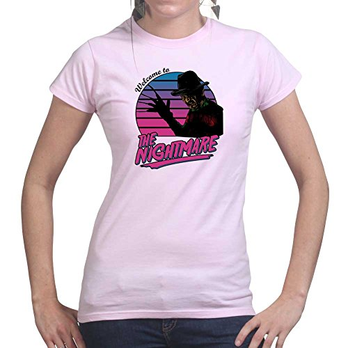 Womens Welcome To The Nightmare Halloween Ladies T Shirt (Tee, Top) Pink