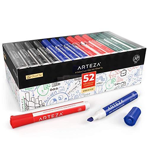ARTEZA Whiteboard Marker mit Keilspitze | Set mit 48 Whiteboard Stiften | 4 Verschiedene Farben | Trocken Abwischbar von Whiteboards | Geruchsarme Tinte | Ideal für Schule oder Büro (Trocken Abwischbare Tinte)
