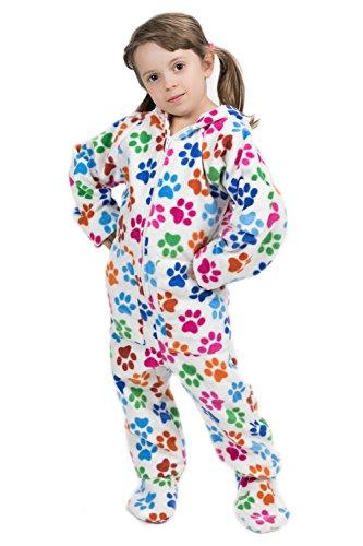 Hundepfoten Kajamaz: Schlafoverall / Strampler / Schlafanzug / Einteiler / Pyjamas Für Erwachsene mit Füßen, Mit Füßen, Kapuze und Klappe (128-134/8-9JY)