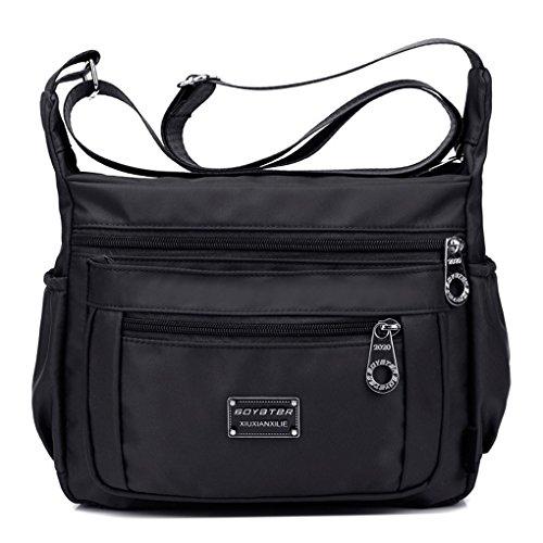 Tibes impermeable bolsa de hombro pequeña Bolso de crossbody bolsa de nylon Mujer B Negro