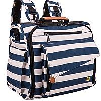حقيبة حفاضات أوتدور جير زيبرا من آل كامب مقاس كبير، تدعم عربة الأطفال، تتحول إلى حقيبة توتي باللونين الأسود والأبيض, , Blue white - TWBP-5336B1US