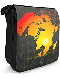 Africa Sunset & Silhouette Gorilla Vulture Giraffe Cheetah Small Black Canvas Shoulder Bag / Handbag