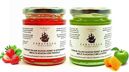 Pacco di 2 : Caravella Premium Miele di Acacia con Mela Verde + Miele di Acacia con Fragola, Miele grezzo Biologico 250 g Gourmet Fine Food direttamente da Venezia