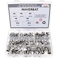 Remaches tuerca, waykino M3 M4 M5 M6 M8 M10 M12 tuercas de remache roscado Nutserts 304Stainless acero surtido Kit, 189-pack