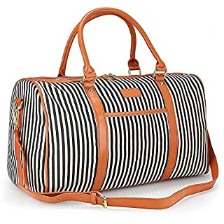 Large Women Weekender Bag,AIZBO Canvas Overnight Weekend Bag Travel Duffel Tote Bag Sports Gym Duffle Holdall with PU Leather Handle (Black Strips,30L)