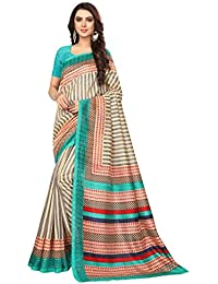 Best Collection Women`s Blue Color Printed Cotton Saree With Blouse