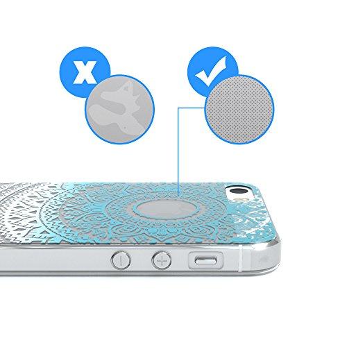 """Apple iPhone SE / 5S / 5 Hülle, EAZY CASE Cover """"Henna"""" - Premium Handyhülle mit Indischer Sonne - Transparente Schutzhülle in Blau / Pink Transparent Blau / Weiß"""