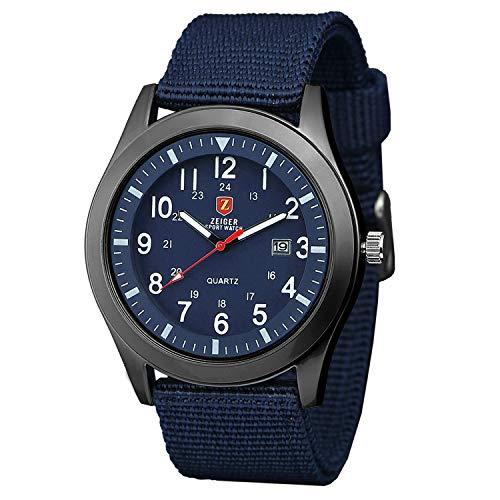 Orologio uomo Zeiger Orologio da polso da uomo Orologio Sports Militar cinturino in Nylon calendario semplice stile orologio regalo per l'uomo Blu Verde Nero (Blue)
