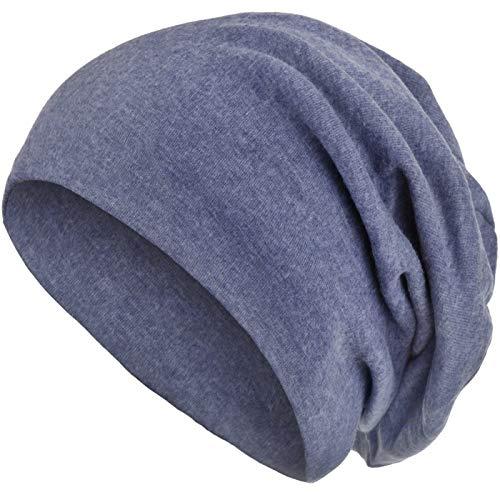 style3 Warme Herbst Winter Slouch Beanie XXL aus atmungsaktivem, feinem und leichten Jersey Unisex Mütze Wintermütze One Size, Farbe:Jeansblau