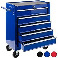 Arebos Chariot d'atelier / 5 Tiroirs / Verrouillable / 4 Roulettes / Tapis antidérapants / rouge, bleu ou noir (bleu)