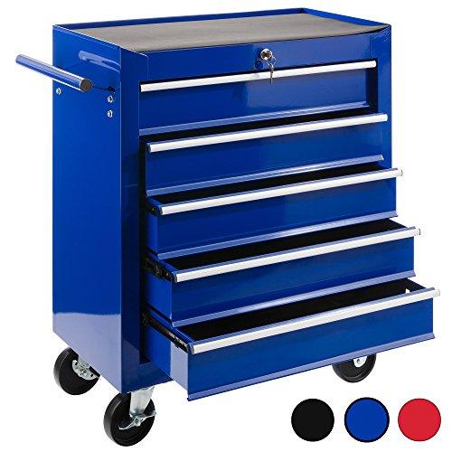 Arebos Werkstattwagen 5 Fächer/zentral abschließbar/Anti-Rutschbeschichtung/Räder mit Festellbremse/Massives Metall/rot, blau oder schwarz (blau)