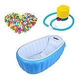 xueliee Aufblasbare Baby-Badewanne mit Luft im Schwimmbad-Dicke Kind Baby Kleinkind, zusammenklappbar, mit Kissen-Platz für 1–4Jahre