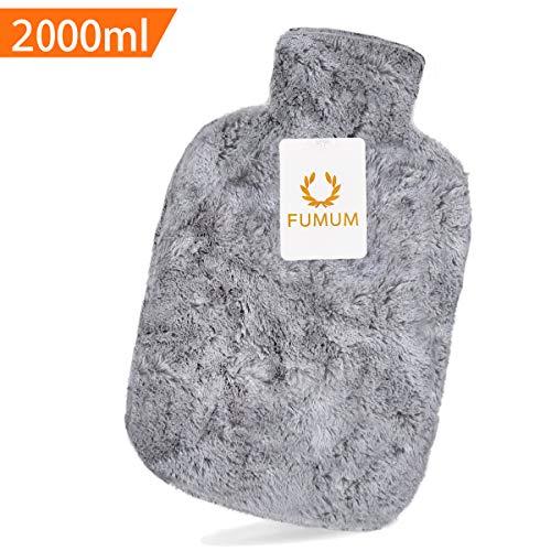 FUMUM Premium Wärmflasche mit Bezug, Weich Wärmflasche Klassik 2L mit Plüsch-Bezug,kein Geruch und Frei von Schadstoffen Grau Wärmflasche für Erwachsene Eltern Kinder