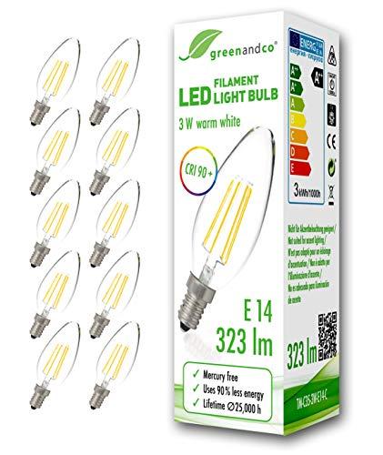 10x greenandco CRI90+ Glühfaden LED Lampe ersetzt 30 Watt E14 Kerze, 3W 323 Lumen 2700K warmweiß...