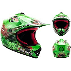"Armor · AKC-49 ""Green"" (green) · Cross casque pour enfants · Kids Enduro Sport MX Cross-Bike Pocket-Bike · DOT certifié · Click-n-SecureTM Clip · Sac fourre-tout · S (53-54cm)"