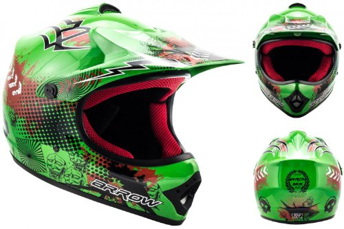 ARROW HELMETS AKC-49 Green Moto-Cross-Helm Cross-Helm Kinder-Cross-Helm Helmet Sport Junior Kids Quad Pocket-Bike Enduro MX Motorrad-Helm Cross-Bike Kinder-Helm, DOT zertifiziert, inkl. Stofftragetasche, Grün, S (53-54cm)