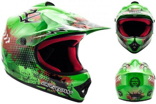 """Armor · AKC-49 """"Green"""" (green) · Casco Moto-Cross · Racing Quad Off-Road Motocicletta Scooter Bambino · DOT certificato · Click-n-Secure™ Clip · Borsa per il trasporto · S (53-54cm)"""