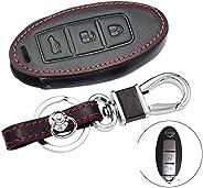 Leather Car Key Case,For Nissan Qashqai Pathfinder Versa Tidda Murano Rogue X-Trail Keyless Remote Fob Cover A