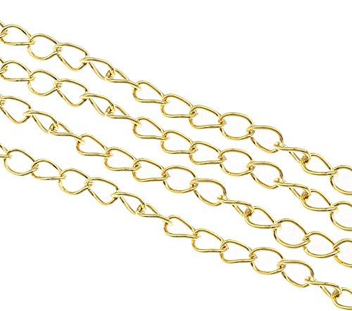 Perlin 300cm Gliederkette Link Kette Metallkette 5mm Schmuckkette Gold Meterware zur Schmuckherstellung von Halsketten Armband DIY Basteln K3