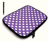 emartbuy Bundle Pack Von Black Kapazitive/Stylus Pen & Polka Dots Violett/Weiß Wasserfesten Neopren Soft-Zip Fall/Abdeckung Für Msi Windpad 100W Tablet (10-11 Zoll Tablet/Ereader)
