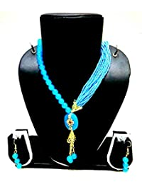 PANASH RAJASTHANI SKY BLUE CHEED WITH BEADS NECKLACE SET