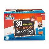Elmer de E5567g lavable en machine école Bâtonnets de colle tout usage, boîte de 30, Transparent