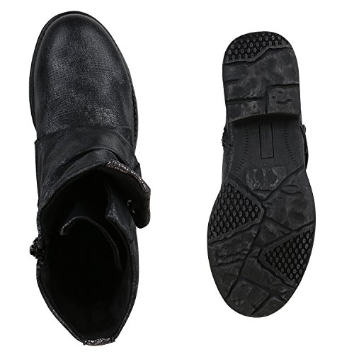 Stiefelparadies Gefütterte Damen Biker Boots Stiefeletten Winterschuhe Metallic Prints Nieten Schnallen Übergößen Schuhe Flandell Schwarz Autol Metallic