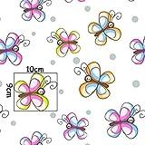 Schmetterling Bunt 100% Baumwolle Baumwollstoff Kinderstoff Meterware Handwerken Nähen Stoff Tiermotiv 100x160cm 1 Meter (Schmetterling Bunt)