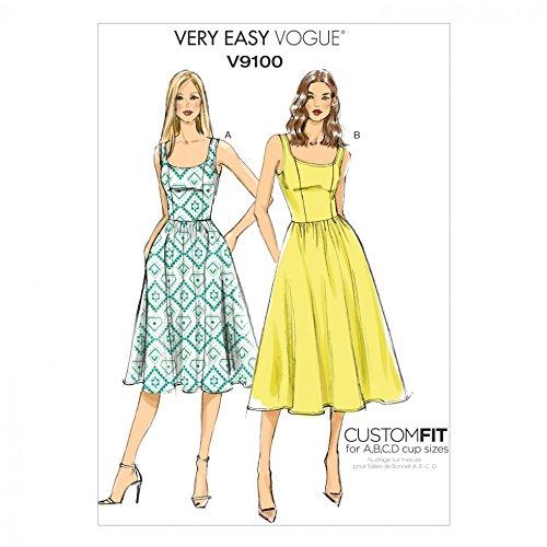 Vogue Damen Easy Schnittmuster 9100geraffter Rock Kleider mit Cup Größen + GRATIS Minerva Crafts Craft Guide (Geraffte Mieder Kleid)