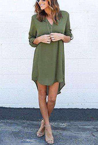 Gladiolus Donna Casual Chiffon Maniche Lunghe Camicetta Con Scollo V Camicia Tops Shirt Sciolto Camicie Esercito verde