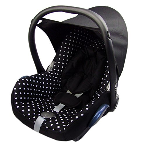 Babys-Dreams Ersatzbezug für Maxi-Cosi CabrioFix 6 tlg. SCHWARZ + KLEINE WEISSE PUNKTE *NEU* Bezug für Babyschale Sommerbezug Cabrio Fix