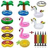 Tpocean Aufblasbare Getränke Halter Einhorn Obst Donuts Flamingo Schwan Aufblasbare Pool Schwimmt für Pool Party Wasser Spaß (11 stücke + 1 stücke Aufblasbare)
