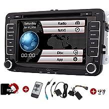 2din doble radio de coche para VW Volkswagen Eincar 7 pulgadas GPS estéreo del coche con el GPS de navegación CanBus FM AM Autoradio Bluetooth en Dash + Tarjeta GPS Mapa 1080P coches reproductor de DVD + TV de alta definición