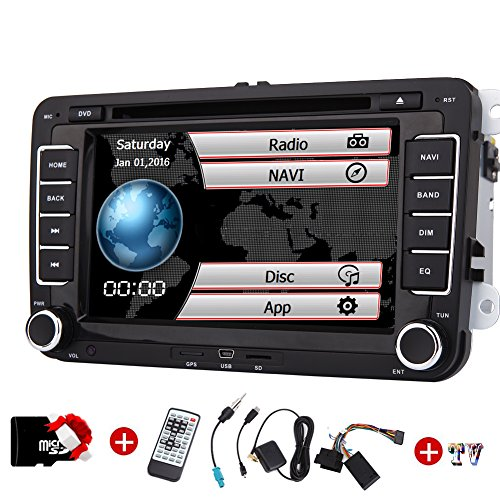 o für VW Volkswagen Eincar 7inch GPS Autoradio mit GPS Navigation CanBus FM AM Autoradio Bluetooth in Dash HD 1080P Auto-DVD-Player + TV + GPS Map-Karte ()