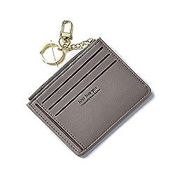 Schlanke Brieftasche Deman Mini Portemonnaie Leder Portmonee Kreditkarteninhaber Geldbeutel Münzfach Slim Wallets für Frauen und Mädchen Kleiner dünner Geschenk mit Schlüsselanhänger Grau