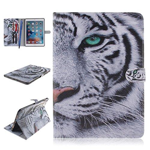 iPad Pro Funda,Careynoce Atrapasueños León Tigre Pattern Flip PU Cuero Carcasas Funda Case Cover para Apple iPad Pro iPad 7 (9.7 pulgada) - Blanco Tigre