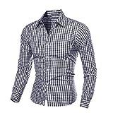 IMJONO Herren Herbst und Winter Langarm-Plaid Selbstkultivierung Shirt Top Bluse (EU-48/CN-XL,Schwarz)