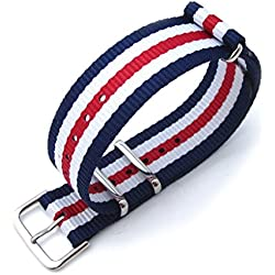 MiLTAT 18mm G10 Military Style NATO Watch Band, Nylon Strap, Polished, Navy, White & Red