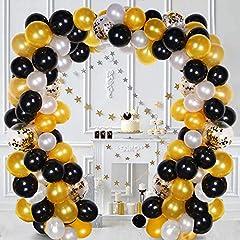 Idea Regalo - FUNCUBE Balloon Ghirlanda Kit Bianco e Nero e Oro Palloncini in Lattice Ghirlanda Pack per Addio al Nubilato Compleanno Festa Anniversario Laurea Centrotavola Decorazioni (White & Black & Gold)