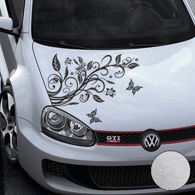 A456 Blumenranke Autoaufkleber + 3 Schmetterlinge 77cm x 50cm silber (Farb-/Größenwahl)