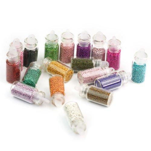 18 Bouteilles Mode Fioles Micro Billes Acier Décor Faux Ongle Manucure Nail Art