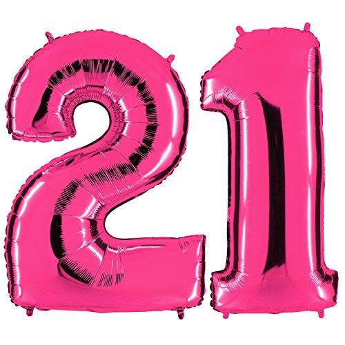 PartyMarty Ballon Zahl 21 in Pink - XXL Riesenzahl 100cm - zum 21. Geburtstag - Party Geschenk Dekoration Folienballon Luftballon Happy Birthday Rosa GmbH